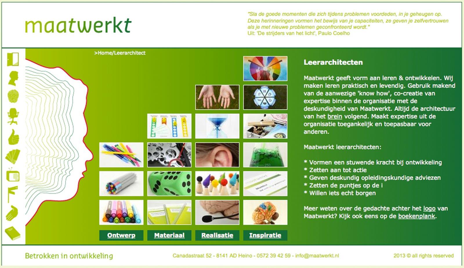 Screenshot van de website van Maatwerkt