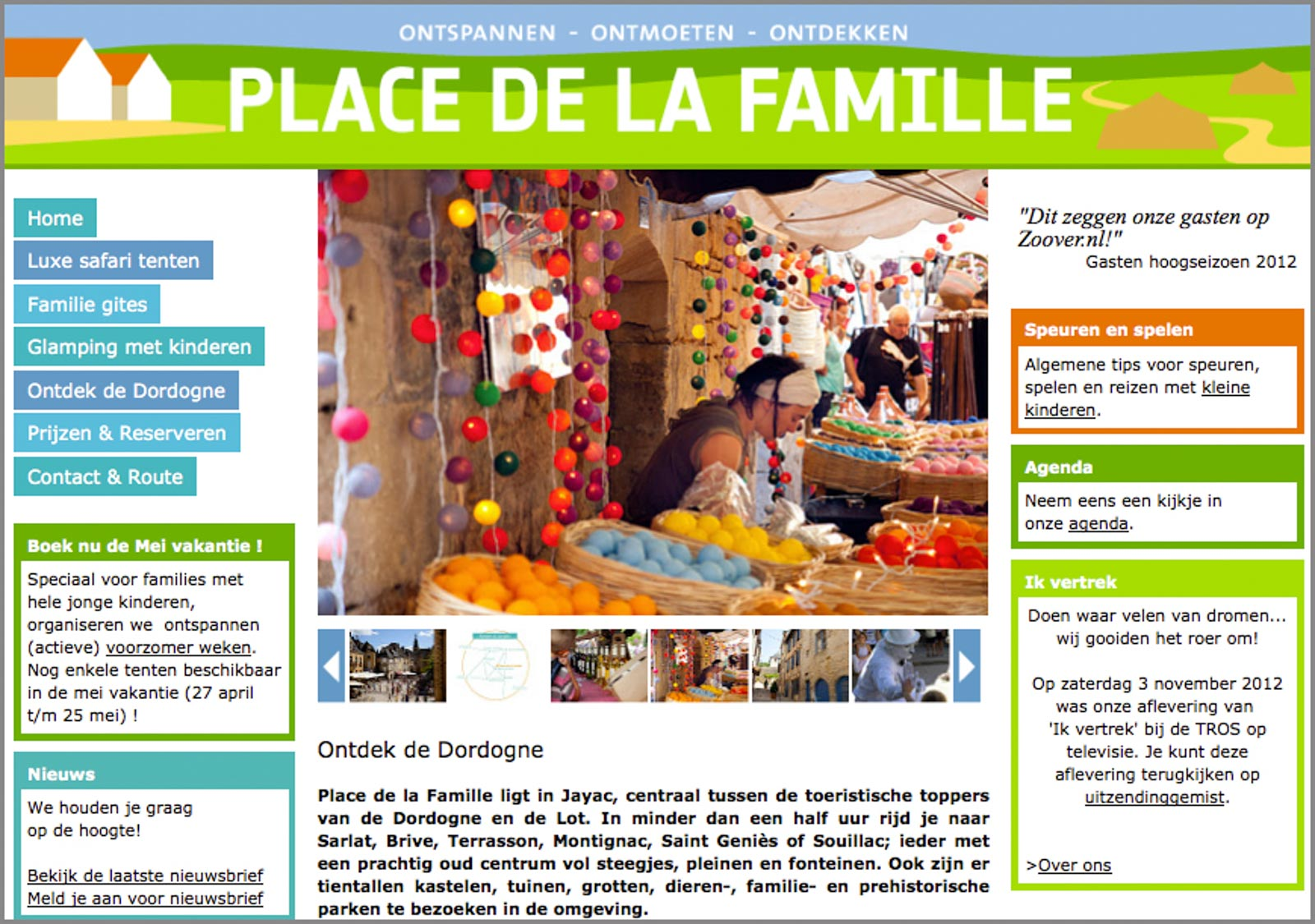 Screenshot van de website van Place de la Famille